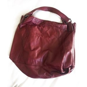 Kenneth Cole Large Red Leather Tote Purse